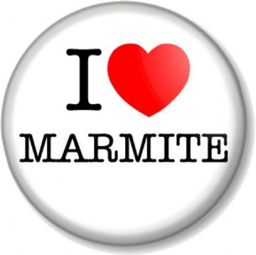 I Love / Heart MARMITE Pinback Button Badge Food & Drink Spread on Toast